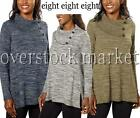 NEW! WOMEN'S EIGHT EIGHT EIGHT ASYMMETRICAL BUTTON NECK PULLOVERS WEATER VARIETY