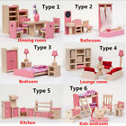 Pink Mini Wooden Furniture Doll House Miniature Room Set Educational Toy