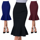 Women's Plain Bodycon Office Slim Pencil High Waisted Ladies Stretch Midi Skirt
