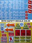 Decal Sticker set. PEL-JOB EB25-4. Mini Digger Pelle Bagger Excavator