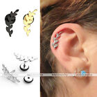 2pcs 16G Leaf Steel Barbell Ear Helix Cartilage Studs Bars Earring Body Piercing