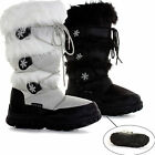 Womens Winter Knee Warm Fur Lined Moon Flat Snow Wellys Wellington Boots Size