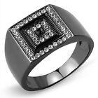 Square Top Clear Crystal Stones Light Black Plated Mens Ring