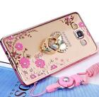 Soft Flower TPU Bling Ring Sling Stand Case Cover for Samsung Galaxy Smart Phone