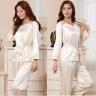 Women's Silk Blend Long Sleeve Sleepwear  HomewearTop+Pants Pajamas/Pyjamas Set