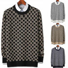 Mens New Fashion Dandy Chess Board Round Crewneck Knit Sweater Top E047 S/M