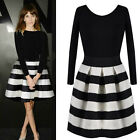 Fashion Women's Long Sleeve Cocktail Party Ecening Formal Black Casual Dress New
