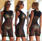 Womens New Sexy Black Sleeveless Bandage Mesh Cover Up Beach Dress Bodycon New