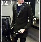 Mens wool blend trench coat lapel thick warm two buttons slim fit jacket U088