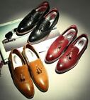 Vintage Mens Tassel Oxford Pointy Toe Slip on Casual Loafers Dress Brogues Shoes