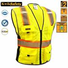 Class 2 Heavy Duty Reflective ANSI Safety Vest Orange Yellow High Vis Strips