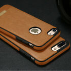 For iPhone 8 Plus 6S 7 Luxury Slim Genuine PU Leather Soft TPU Back Case Cover