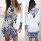 Summer Women Cotton Long Sleeve Party Dress Evening Cocktail Casual Mini Dress