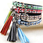 Checked Plaid Soft Brown Blue Green Dog Puppy Collar Xsmall small pet chihuahua