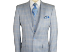 Mens VITALI Three Piece Suit Vested Sharkskin Houndstooth M5916 Black White NEW