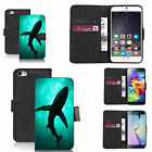 faux leather wallet case for many Mobile phones - aqua shadow sharks black