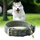 Pet Dog Double-Breasted Necklace Leather Dog Puppy Collar Sable Army  Green New