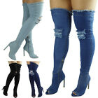 Womens Ladies Thigh High Over The Knee Denim Peeptoe Stiletto Heel Boots Size