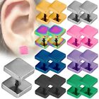 2 Edelstahl Fakeplugs Tunnel Piercing Ohrringe Ohrstecker Damen Herren Quadrat