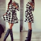 Women Spring Long Sleeve Plaid Romper Skirt Ladies Party Mini Shirt Wrap Dress
