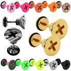 Pendientes Tunnel Fakeplugs Airbrush Piercing Tornillo En Cruz Acero 10mm Fake