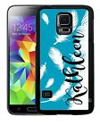 PERSONALIZED RUBBER CASE FOR SAMSUNG NOTE 3 4 5 BLUE WHITE FEATHERS