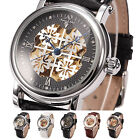4 Color KS Royal Carving Skeleton Flower Men's Leather Band Mechanical Watch