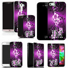 PERSONALISED INITIALS CASE COVER FOR MANY MOBILES - purple flower vine