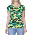 Clifton Womens Army T-Shirt Half Sleeve R-Neck-Lime Green