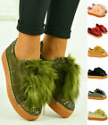 New Womens Ladies Flatform Platform Trainers Faux Fur Sneakers Shoes Size Uk 3-8