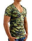 MENS PLAIN CAMO DEEP V NECK T-SHIRT SLIM FIT CASUAL GYM FASHION ARMY MILITARY