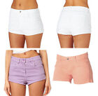 Exhighstreet size 12 14 New stretch denim shorts hotpant Coral Lilac White LICK