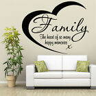 FAMILY THE HEART Wall Art Sticker Gift Vinyl Words Quote Lounge Transfer