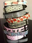 Dog / Cat Collar Add name/Lead Spots Tartan Lace Flowers Leopard Gold Silver