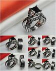 His Titanium Ring Hers Goth Black Stone 925 Silver Wedding & Engagement Ring Set