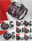 Hers 3 Ring Pink Black 925 Silver His Titanium Wedding Ring Engagement Ring Set