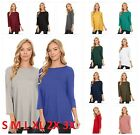 USA Simlu Womens Boatneck Short Tunic Top 3/4 Sleeve Shirt Tunic Top S - XXXL