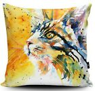 CATS EYES DESIGNER CUSHION DIGITALLY PUSSY CAT PRINTED FAUX SUEDE CUSHION
