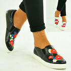 New Womens Ladies Floral Trainers Flat Pumps Slip On Sneakers Shoes Size Uk 3-8