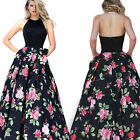 1x Women's Vintage Floral Sleeveless Cocktail Evening Party Maxi Dress Ball Gown