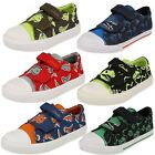 Boys Clarks Tricer Roar Riptape Strap Canvas Casual Pumps