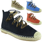 New Womens Ladies Ankle Faux SuedeLace Up Espadrilles Shoes Sandals Flats Size