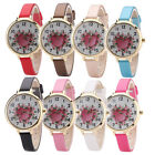 New Womens Ladies Girl Rose Flower Heart Analog Quartz Leather Watches