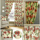 Poppy PRINTED Red LINED Pencil Pleat Curtains MUST GO £10,£15,£20 A PAIR *SALE*