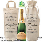 Bottle Bag Personalised Glass Any Year Wedding Anniversary Gift Champagne Wine