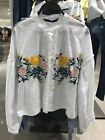 Spain Women's 100% Cotton Oversized Floral Embroidered White Mandarin Shirt XS-L