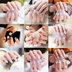24PC False Nails Art Tips With Glue Various Designs Bride Party Time Prom Night