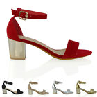 NEW WOMENS STRAPPY SANDALS LADIES CHROME BLOCK LOW HEEL PEEPTOE PARTY SHOES 3-8