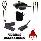 FIREPLACE & FIRESIDE ACCESSORIES - CAST IRON POKER, TONGS, GLOVES, BRUSH, HOD