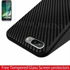 Black Silicone Soft Back Slim Case Shockoroof Tempered Glass For iPhone 6 7 Plus